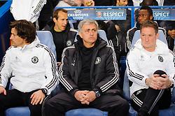 Chelsea Manager Jose Mourinho (POR) sits in the dugout before kick off - Photo mandatory by-line: Rogan Thomson/JMP - 07966 386802 - 08/04/2014 - SPORT - FOOTBALL - Stamford Bridge, London - Chelsea v Paris Saint-Germain - UEFA Champions League Quarter-Final Second Leg.