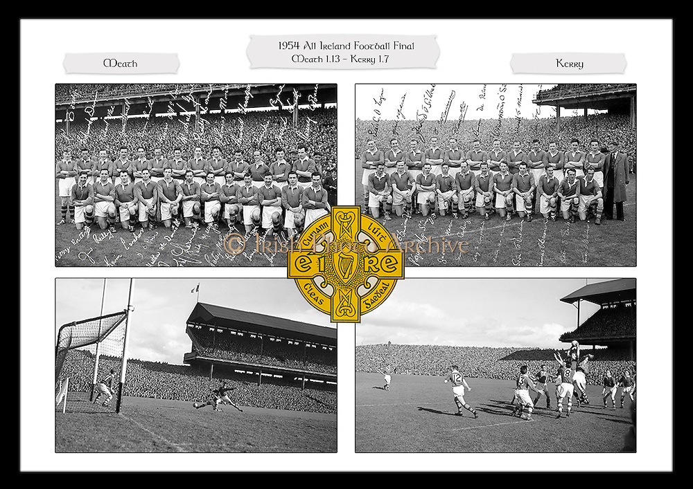 Framed collage of images from the 1954 All Ireland Football Final between Meath and Kerry, played in Croke Park on 26th September 1954.