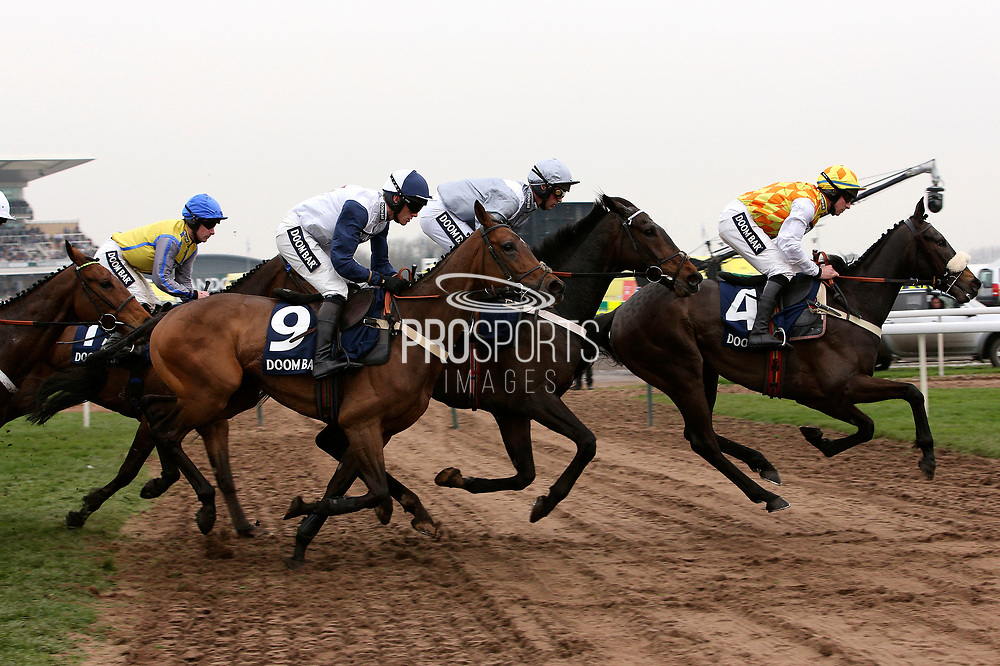 Dans Le Event (4) Winner Santini (11) and Point of Principle (9) in The Doom Bar Sefton Novices Hurdle Race on Ladies Day at Aintree, Liverpool, United Kingdom on 13 April 2018. at Aintree, Liverpool, United Kingdom on 13 April 2018. Picture by Craig Galloway.