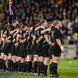 The All Blacks sing the National Anthem before the Investec Rugby Championship match between the New Zealand All Blacks and the Australia Wallabies at Westpac Stadium in Wellington, New Zealand on Saturday, 27 August 2016. Photo: Marco Keller / www.lintottphoto.co.nz