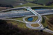 Nederland, Noord-Brabant, Eindhoven, 07-03-2010; Lichtviaduct, nieuwe Randweg Eindhoven (A2), viaduct afslag High Tech Campus. Let op gesloten hek, de foto is op zondag gemaakt. .luchtfoto (toeslag), aerial photo (additional fee required).foto/photo Siebe Swart