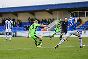 Forest Green Rovers Marcus Kelly(10) shoots at goal scores a goal 0-1 during the FA Trophy 2nd round match between Chester FC and Forest Green Rovers at the Deva Stadium, Chester, United Kingdom on 14 January 2017. Photo by Shane Healey.