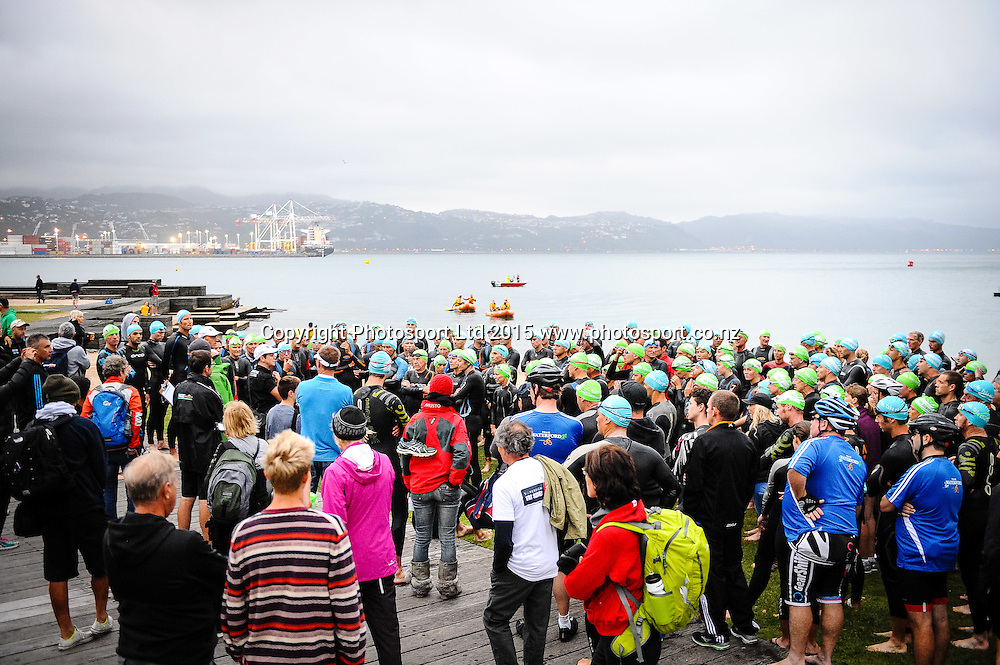 Race briefing before the start of the Sovereign Tri Series, Waterfront, Wellington, New Zealand. Saturday 14 March 2015. Copyright Photo: Mark Tantrum/www.Photosport.co.nz