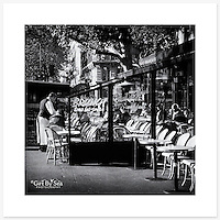 Caf&eacute;, Paris, France - Monochrome version. Inkjet pigment print on Canson Infinity Rag Photographique 310gsm 100% cotton museum grade Fine Art and photo paper.<br />
