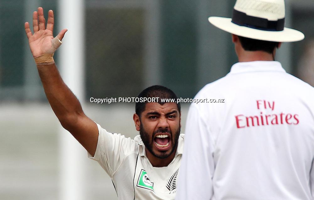 New Zealand's Jeetan Patel appeals,<br />Day 3. Test match cricket. One off test.<br />New Zealand Black Caps versus Bangladesh.<br />Seddon Park, Hamilton, New Zealand.<br />Tuesday 17 February 2010.<br />Photo: Andrew Cornaga/PHOTOSPORT