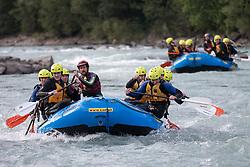 14.07.2015, Ainet, AUT, Eishockey Cracks bei Raftingtour auf der Isel, im Bild Boote mit Spielern der EBEL und NHL, Thomas Raffl (EC Red Bull Salzburg, EBEL), Michael Raffl (Philadelphia Flyers, NHL) und Skirennläuferin Edit Miklos (HUN) // Hockey Cracks during a rafting tour on the East Tyrolean glacial river Isel Ainet, Austria on 2015/07/14. EXPA Pictures © 2015, PhotoCredit: EXPA/ Johann Groder