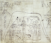 Ancient Egyptian cosmos: goddess Nut (sky) with Qeb (earth) reclining. Shu, standing, representing air with ram-headed god on either side. From Greenfield Papyrus (funerary papyrus of the Princess Nesitanebtashru) c970 BC