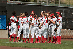 09 May 2014:  Redbirds huddle up during an NCAA Missouri Valley Conference (MVC) Championship series women's softball game between the Loyola Ramblers and the Illinois State Redbirds on Marian Kneer Field in Normal IL