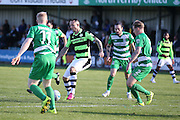 Forest Green Rovers forward Rhys Murphy (39)  shields the ball during the Vanarama National League match between North Ferriby United and Forest Green Rovers at Eon Visual Media Stadium, North Ferriby, United Kingdom on 8 October 2016. Photo by Simon Davies.