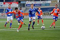 ÅLESUND 20110212. Aalesunds Kjell Rune Sellin (tv) setter inn 1-0 under treningskampen i fotball mellom Aalesund og Hødd på Color Line Stadion i Ålesund lørdag ettermiddag.<br /> Foto: Svein Ove Ekornesvåg
