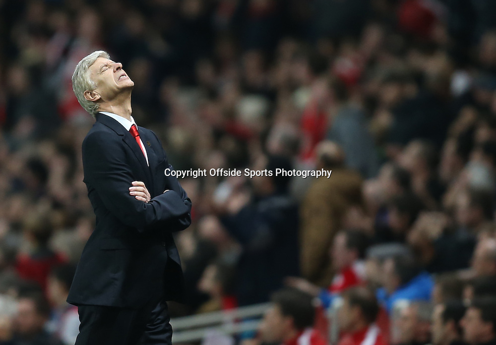 22 November 2014 - Barclays Premier League - Arsenal v Manchester United - Arsene Wenger, Manager of Arsenal reacts after his players miss a chance - Photo: Marc Atkins / Offside.