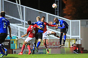PENALTY Calvin Andrew fouled by Darnell Furong during the EFL Sky Bet League 1 match between Swindon Town and Rochdale at the County Ground, Swindon, England on 18 October 2016. Photo by Daniel Youngs.