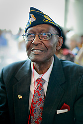 06 June 2014. The National WWII Museum, New Orleans, Lousiana. <br /> WWII veteran Platoon Sgt Lamore Carter, 291st Trucking company is honored with the French Legion of Honor medal. <br /> Photo; Charlie Varley/varleypix.com