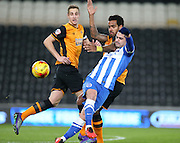 Hull City midfielder Tom Huddlestone (8) and Brighton central midfielder, Beram Kayal (7) tussle during the Sky Bet Championship match between Hull City and Brighton and Hove Albion at the KC Stadium, Kingston upon Hull, England on 16 February 2016.