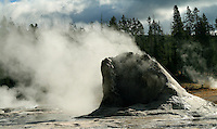 Giant Geyser in Yellowstone National Park, Wyoming has an eruption height of nearly 250 feet