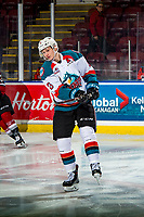 KELOWNA, CANADA - JANUARY 26: Kaedan Korczak #6 of the Kelowna Rockets warms up against the Vancouver Giants  on January 26, 2019 at Prospera Place in Kelowna, British Columbia, Canada.  (Photo by Marissa Baecker/Shoot the Breeze)
