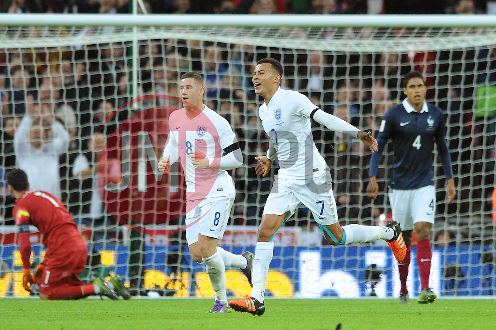 Dele Alli of England celebrates his goal which puts England 1-0 in the lead against France - Mandatory byline: Dougie Allward/JMP - 07966 386802 - 17/11/2015 - FOOTBALL - Wembley Stadium - London, England - England v France - International Friendly