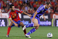 06.09.2011, Logrono, ESP, UEFA EURO 2012, Qualifikation, Spanien vs Lichtenstein, im Bild Spain's Sergio Busquets (l) and Liechtenstein's Marco Ritzberger during Euro 2012 qualifier match.September 6,2011.. EXPA Pictures © 2011, PhotoCredit: EXPA/ Alterphoto/ Acero +++++ ATTENTION - OUT OF SPAIN/(ESP) +++++