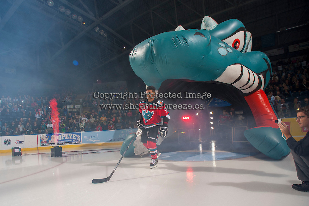 KELOWNA, CANADA - SEPTEMBER 21:  Tyrell Goulbourne #12 of the Kelowna Rockets enters the ice during the regular season home opener against the Kamloops Blazers at the Kelowna Rockets on September 21, 2013 at Prospera Place in Kelowna, British Columbia, Canada (Photo by Marissa Baecker/Shoot the Breeze) *** Local Caption ***