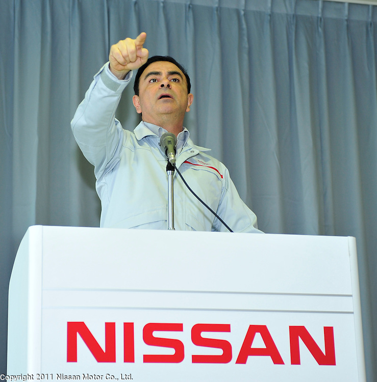 Nissan CEO Carlos Ghosn visits Iwaki Factory.