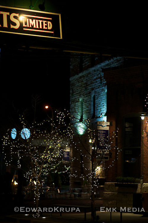Night shot of the  Distillery District, Toronto.