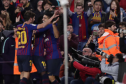 October 28, 2018 - Barcelona, Catalonia, Spain - October 28, 2018 - Camp Nou, Barcelona, Spain - LaLiga Santander- FC Barcelona v Real Madrid CF; Luis Suarez of FC Barcelona celebrates scoring his side's 4th goal  (Credit Image: © Marc Dominguez/ZUMA Wire)
