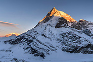 The Monte Rosa and the west face of the Matterhorn from the Schönbielhütte in the last light, Valais, Switzerland