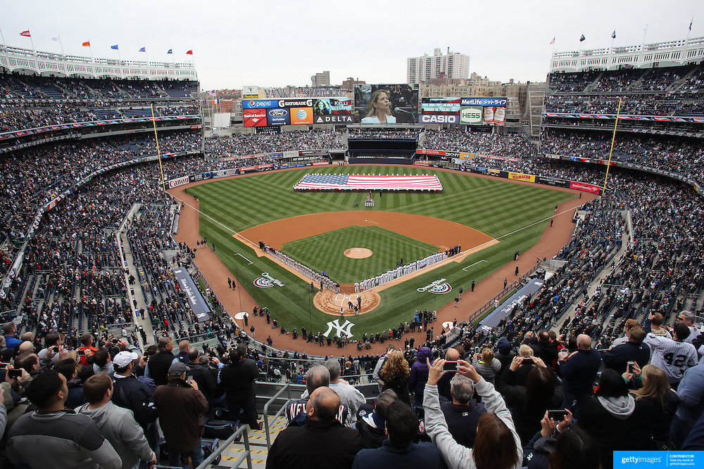 The Opening ceremony during the New York Yankees V Baltimore Orioles home opening day at Yankee Stadium, The Bronx, New York. 7th April 2014. Photo Tim Clayton