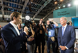 "01.07.2017, Design Center, Linz, AUT, ÖVP, 38. ordentlicher Bundesparteitag, mit Wahl von Bundesminister Kurz zum neuen Bundesparteiobmann, unter dem Motto ""Zeit für Neues - Zusammen neue Wege gehen"". im Bild v.l.n.r. Außenminister und designierter ÖVP-Chef Sebastian Kurz und ehemaliger Parteichef und Vizekanzler Reinhold Mitterlehner // f.l.t.r. Austrian Foreign Minister Sebastian Kurz and former party leader and vice chancellor of Austria Reinhold Mitterlehner during political convention of the Austrian People' s Party with election of Sebastian Kurz as the new party leader at Design Centre in Linz, Austria on 2017/07/01. EXPA Pictures © 2017, PhotoCredit: EXPA/ Michael Gruber"