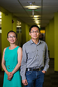 Ji Fang and Yibin Lin (right) of Liberio pose for a portrait at their office in Sunnyvale, California, on July 24, 2018. (Stan Olszewski for Silicon Valley Business Journal)
