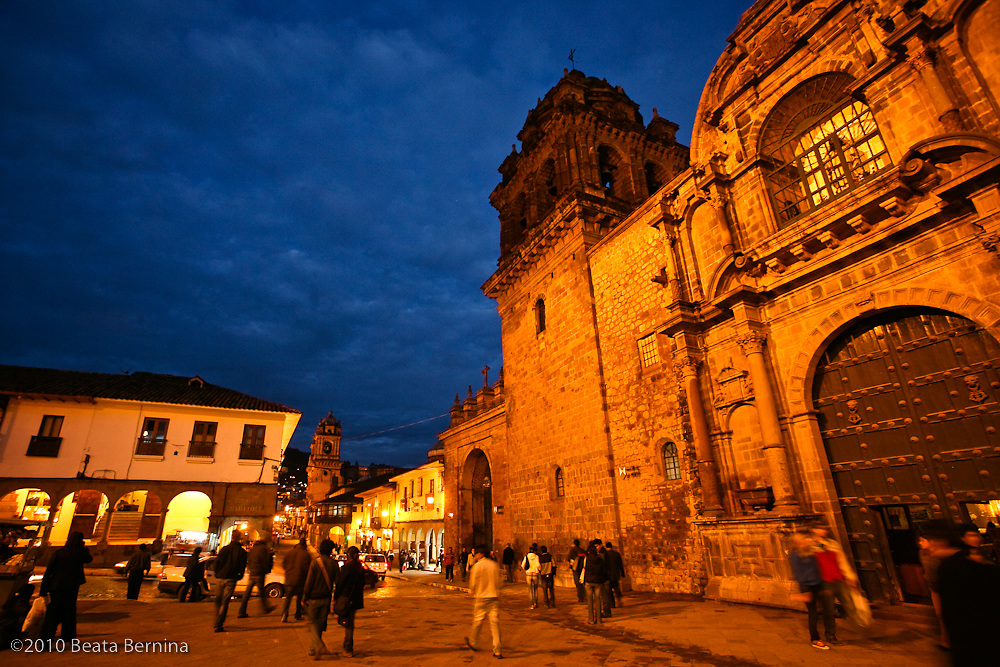 Plaza Espinar and La Merced church at dusk, Cusco, Peru.