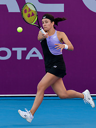DOHA, Feb. 13, 2019  Anastasija Sevastova of Latvia hits a return during the women's singles first round match between Anna Blinkova of Russia and Anastasija Sevastova of Latvia at the 2019 WTA Qatar Open in Doha, Qatar, Feb. 12, 2019. Anna Blinkova won 2-0. (Credit Image: © Nikku/Xinhua via ZUMA Wire)