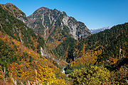 Fall foliage colors in Kurobe River valley on the Tateyama Kurobe Alpine Route. Kurobe Dam is Japan's tallest dam at 186 meters / 610 ft. Built with many difficulties over 7 years, it was completed in 1963. Over 170 people lost their lives to the project. Its hydropower plant supplies electricity to the Kansai Region. Kurobe Dam spans across Kurobe Lake in an arc, and it can be accessed via electric bus from the east or the cablecar from the west. Visitors walk over the dam to get between the bus and cablecar stations in about 10-15 minutes. At the eastern end of the dam, a long flight of stairs leads up the concrete-covered mountain slope for an aerial view of the dam and its surroundings. The Tateyama Kurobe Alpine Route carries visitors across the Northern Japan Alps via cablecars, trolley buses and a ropeway. Completed in 1971, this transportation corridor connects Toyama City in Toyama Prefecture with Omachi Town in Nagano Prefecture. The Tateyama Mountain Range lies within Chubu Sangaku National Park.