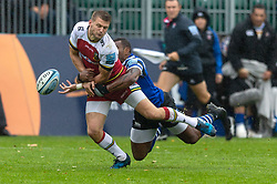 Northampton Saints' Dan Biggar (left) and Bath's Semesa Rokoduguni during the Gallagher Premiership match at the Recreation Ground, Bath.