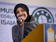 16 MARCH 2019 - BLOOMINGTON, MINNESOTA, USA: Congresswoman ILHAM OMAR (D-MN) speaks at Dar al Farooq Center in Bloomington. She is the first Somali-American elected to congress. An interdenominational crowd of about 1,000 people came to the center to protest white supremacy and religious intolerance and to support Muslims in New Zealand who were massacred by a white supremacist Friday. The Twin Cities has a large Muslim community following decades of Somali immigration to Minnesota. There are about 45,000 people of Somali descent in the Twin Cities.   PHOTO BY JACK KURTZ