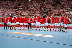 09.04.2016, Ergo Arena, Gdansk, POL, IHF Herren, Olympia Qualifikation, Polen vs Chile, im Bild Reprezentacja Polski // during the IHF men's Olympic Games handball qualifier between Poland and Chile at the Ergo Arena in Gdansk, Poland on 2016/04/09. EXPA Pictures © 2016, PhotoCredit: EXPA/ Newspix/ Tomasz Zasinski<br /> <br /> *****ATTENTION - for AUT, SLO, CRO, SRB, BIH, MAZ, TUR, SUI, SWE only*****