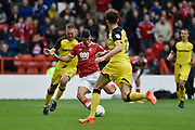 Nottingham Forest defender Eric Lichaj (2) scores a goal to make the score 2-0 during the EFL Sky Bet Championship match between Nottingham Forest and Burton Albion at the City Ground, Nottingham, England on 21 October 2017. Photo by Richard Holmes.