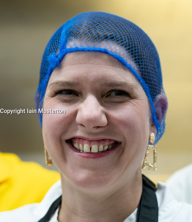 Bearsden, Scotland, UK. 27th November 2019.  Liberal Democrat leader Jo Swinson visits the Ashoka restaurant kitchen and is given cooking lessons by the chefs. She warned about the threat Brexit poses to small businesses. Iain Masterton/Alamy Live News.