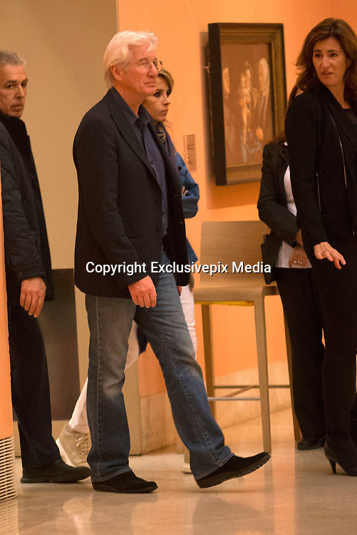 MADRID, SPAIN, 2015, NOVEMBER 26<br /><br /> Richard Gere visited the Prado Museum in Madrid, in the company of his girlfriend, Spanish entrepreneur Alejandra Silva<br />&copy;Exclusivepix Media