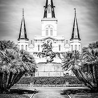 New Orleans St. Louis Cathedral black and white picture. The Cathedral-Basilica of St. Louis King of France is located in Jackson Square with the General Andrew Jackson statue.