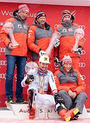18.03.2018, Aare, SWE, FIS Weltcup Ski Alpin, Finale, Aare, Gesamt Nationencup, Siegerehrung, im Bild Team Österreich, (AUT, Gesamt Nationencup, Nationencup Herren und Nationencup Damen 1. Platz) v.l. Mag. Jürgen Kriechbaum (Sportlicher Leiter ÖSV Ski Alpin Damen), Hans Pum (ÖSV Sportdirektor), Andreas Puelacher (Sportlicher Leiter ÖSV Ski Alpin Herren), Marcel Hirscher (AUT, Gesamt Weltcup 1. Platz und Slalom Weltcup 1. Platz) und Prof. Peter Schröcksnadel (ÖSV Präsident) mit allen Kristallkugeln // winner of overall Nation cup men's nation cup and ladi's nation cup team Austria f.l. Juergen Kriechbaum Austrian Ski Association head Coach alpine Ladies Hans Pum Austrian Ski Association sporting director Andreas Puelacher Austrian Ski Association head Coach alpine Men's Overall World Cup winner Slalom World Cup winner and Giant Slalom World Cup winner Marcel Hirscher of Austria and Peter Schroecksnadel Austrian Ski Association President during the allover winner Ceremony for the Nations Worlcup of FIS Ski Alpine World Cup finals Aare, Sweden on 2018/03/18. EXPA Pictures © 2018, PhotoCredit: EXPA/ Johann Groder