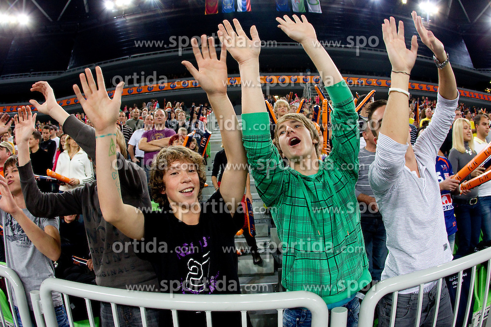 Supporters of ACH during volleyball match between ACH Volley LJUBLJANA and Budvanska Rivijera BUDVA.of 2012 CEV Volleyball Champions League, Men, League Round in Pool F, 2nd Leg, on October 26, 2011, in Arena Stozice, Ljubljana, Slovenia.  (Photo by Vid Ponikvar / Sportida)