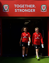 SWANSEA, WALES - Wednesday, June 6, 2018: Wales' Tamsyn Sibanda and Carrie Jones walk out of the players' tunnel before a training session at the Liberty Stadium ahead of the FIFA Women's World Cup 2019 Qualifying Round Group 1 match against Bosnia and Herzegovina. (Pic by David Rawcliffe/Propaganda)