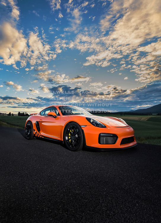 Image of a 2016 Gulf Orange Porsche GT4 in the Palouse, Washington, Pacific Northwest