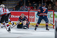 KELOWNA, BC - JANUARY 11: Dylan Garand #31 of the Kamloops Blazers looks for the puck against the Kelowna Rockets at Prospera Place on January 11, 2020 in Kelowna, Canada. (Photo by Marissa Baecker/Shoot the Breeze)