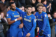 AFC Wimbledon midfielder Liam Trotter (14) celebrating after scoring goal to make it 1-0 during the EFL Sky Bet League 1 match between AFC Wimbledon and Southend United at the Cherry Red Records Stadium, Kingston, England on 1 January 2018. Photo by Matthew Redman.