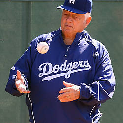 Los Angeles Dodgers former manager Tommy Lasorda during workouts at spring training as the Dodgers beat the White Sox's 8-3 at the Ballpark at Camelback Ranch on Friday, March 5, 2010, in Glendale,Arizona. (SGVN/Staff Photo by Keith Birmingham/SPORTS)