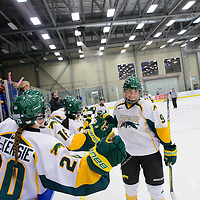 3rd year forward Emma Waldenberger (9) of the Regina Cougars in action during the Women's Hockey Home Game on February 4 at Co-operators arena. Credit: Arthur Ward/Arthur Images