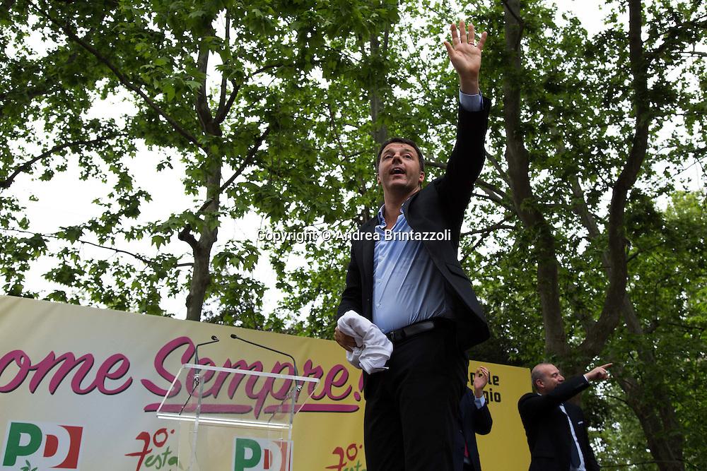 Bologna 03 Maggio 2015 70 anni di Feste.Chiusura Festa Nazionale dell&rsquo;Unit&agrave;<br /> Nella Foto: Matteo Renzi Presidente del Consiglio e Segretario Nazionale del Partito Democratico