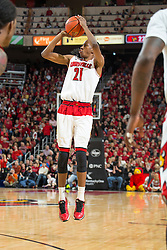 Louisville guard Shaqquan Aaron. <br /> <br /> The University of Louisville hosted the North Carolina State, Saturday, Feb. 14, 2015 at the Yum Center in Louisville. <br /> <br /> Photo by Jonathan Palmer